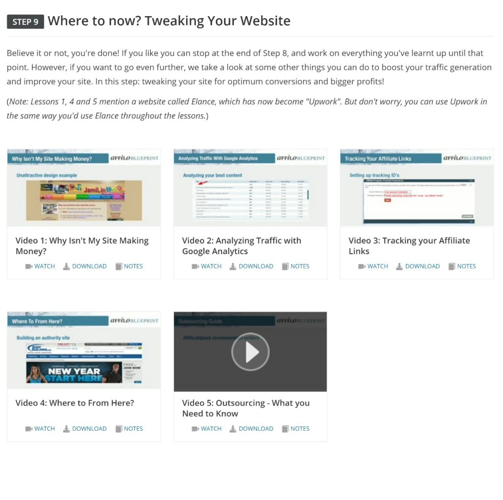 Step 9 - Website Tweaks. This is a section on best practices for increasing the performance of your site, by opimising for more conversions etc.